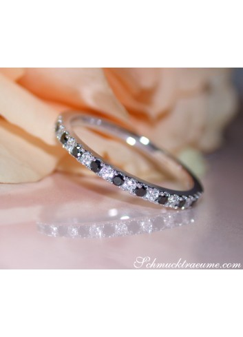 Delicate Black & White Diamond Band