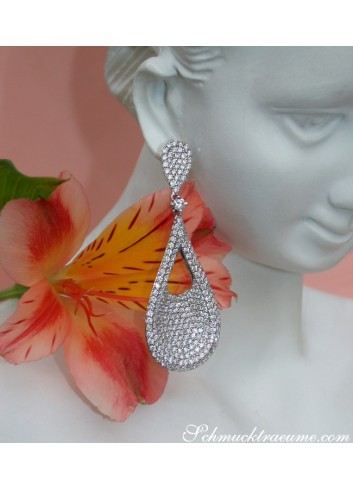 Stately Pear Shape Danling Earrings with Diamonds