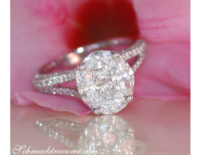 "Exquisite ""Illusion Design"" Diamond Ring"