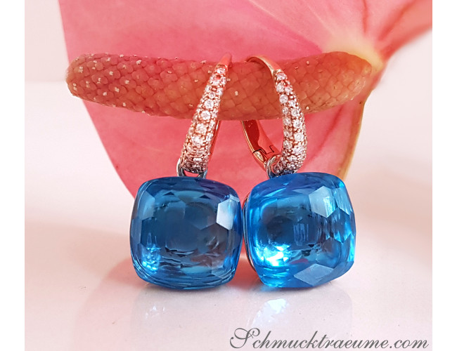 Stately Blue Topaz Diamond Earrings