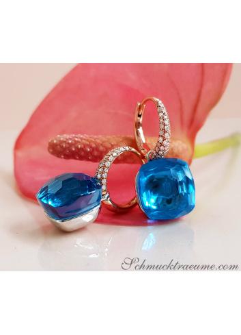 Blautopas Ohrringe mit Diamanten