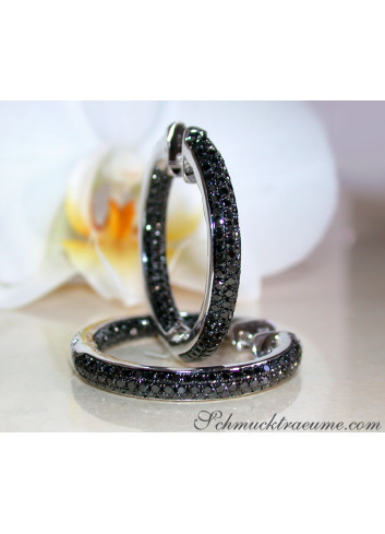 Stately Black Diamond Hoop Earrings