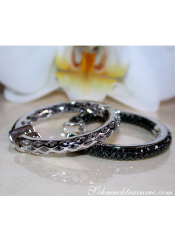 Stately Black Diamond Hoop Earrings