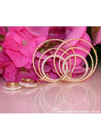 Diamanten Ohrringe im Kreis Kordel Design