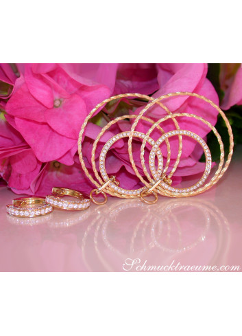 Spectacular Diamond Circle Rope Style Earrings