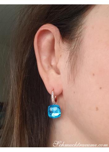 Stately Blue Topaz Diamond Earrings