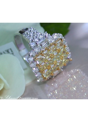 Magnificent Yellow Diamond Ring with White Diamonds