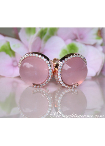 Enchanting Rose Quartz Diamond Stud Earrings