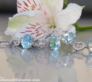 Charming Aquamarine Diamond Dangling Earrings image