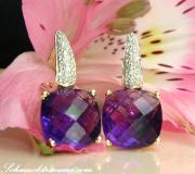 Pretty Amethyst Earrings with Diamonds image