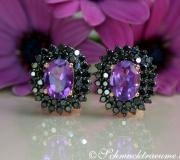Enchanting Amethyst Studs with Black Diamonds image