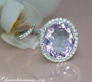 Attractive Lilac / Light Purple Amethyst Ring with Diamonds image