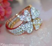 Three Enchanting Diamond Heart Rings (Stackable Rings) image