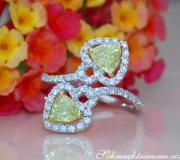 Feminine Diamond Heart Ring with Yellow Diamonds image