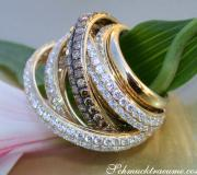 Multi Row Diamond Ring with Brown Diamonds of Stately Size image