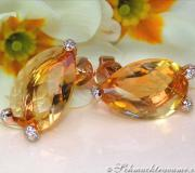 Stately Citrine Drop Earrings with Diamonds image