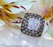 Timeless Square Pendant with white & brown Diamonds image