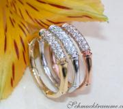 Three Bamboo Style Stackable Rings with Diamonds image
