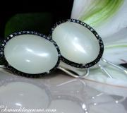 Fancy Moonstone Earrings with Black Diamonds image