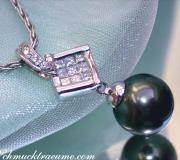 Picture perfect Tahitian Pearl Pendant with Diamonds image