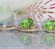 Convertible Peridot earrings with diamonds image