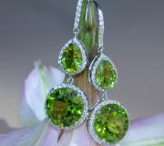 Stately Peridot Earrings with Diamonds image