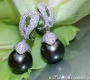 Timeless Tahitian Pearl Earrings with Diamonds image