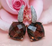 Pretty Smoky Quartz Studs with Diamonds image