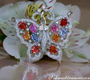 Stunning Diamond Butterfly Pendant with Multicolor Sapphires image