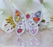 Beautiful Butterfly Ring with Multicolor Sapphires & Diamonds image