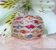 Stately Multicolor Sapphire Ring with Diamonds image