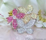 Pretty Diamond Butterfly Ring with Rubies & Sapphires image