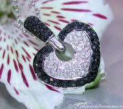 Interesting Black & White Diamond Heart Pendant image