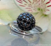 Attractive black diamond pave ball ring image