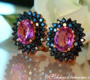Enchanting Pink Tourmaline Studs with Black Diamonds image