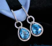 Blue Topaz earrings / hoop earrings with diamonds image