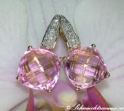Pretty Pink Topaz Earrings with Diamonds image
