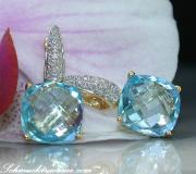 Pretty Blue Topaz Earrings with Diamonds image