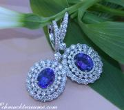 Magnificent AAA Tanzanite Dangling Earrings with Diamonds image