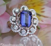 Exceptional AAA Tanzanite Ring with Diamonds image