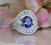 Precious AAA Tanzanite Ring with Diamonds in Whitegold 18k image