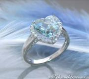 Graziler Aquamarin Brillanten Ring im Herz-Design image