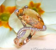 Glamorous Citrine Drop Diamond Ring image