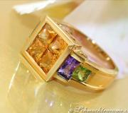 Attractive Citrine Amethyst Peridot Ring image