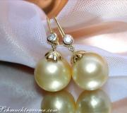 Pretty Hanging Earrings with Southsea Pearls & Diamonds image