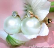 Beautiful Southsea Pearl Studs with Diamonds image