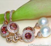 Impressive Dangling Earrings with Southsea Pearls, Tourmalines & Diamonds image