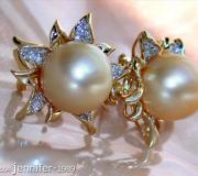 Blossom Style Studs with Golden Southsea Pearls & Diamonds image
