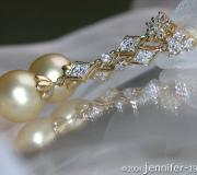 Long Dangling Earrings with Golden Southsea Pearls image