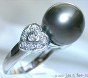 Tahitiperle Brillanten Ring im Herz-Design image